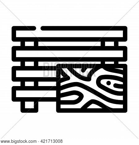 Treated Wood Building Material Line Icon Vector. Treated Wood Building Material Sign. Isolated Conto