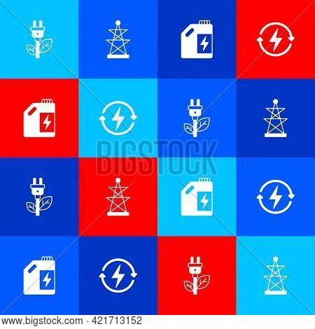 Set Electric Saving Plug In Leaf, Tower, Eco Fuel Canister And Recharging Icon. Vector