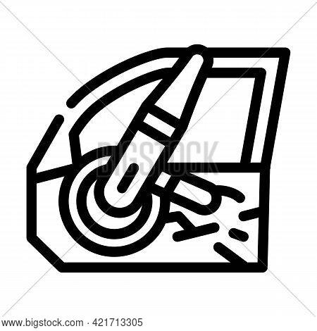 Door Car Polishing Line Icon Vector. Door Car Polishing Sign. Isolated Contour Symbol Black Illustra