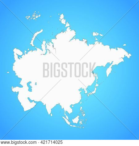The Political Detailed Map Of The Continent Of Asia With Full Russia With Borders Of Countries