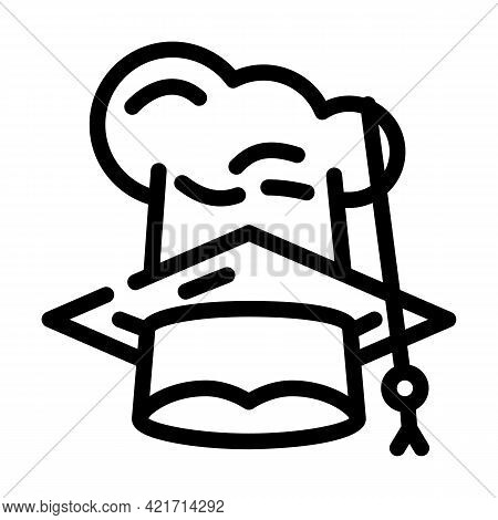 Chef And Graduate Cooking Courses Hat Line Icon Vector. Chef And Graduate Cooking Courses Hat Sign.