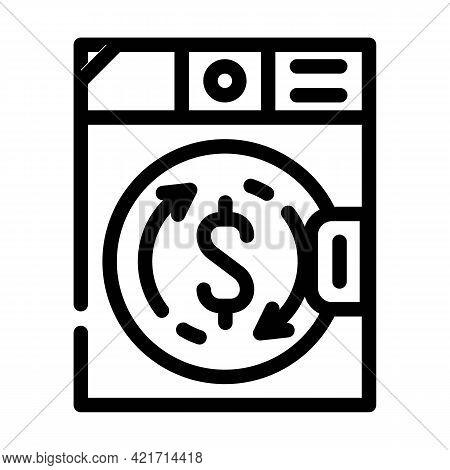 Money Laundering In Laundry Machine Line Icon Vector. Money Laundering In Laundry Machine Sign. Isol
