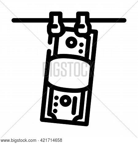 Money Laundered Line Icon Vector. Money Laundered Sign. Isolated Contour Symbol Black Illustration