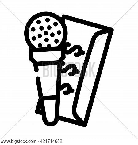 Purchase Of Journalist Line Icon Vector. Purchase Of Journalist Sign. Isolated Contour Symbol Black
