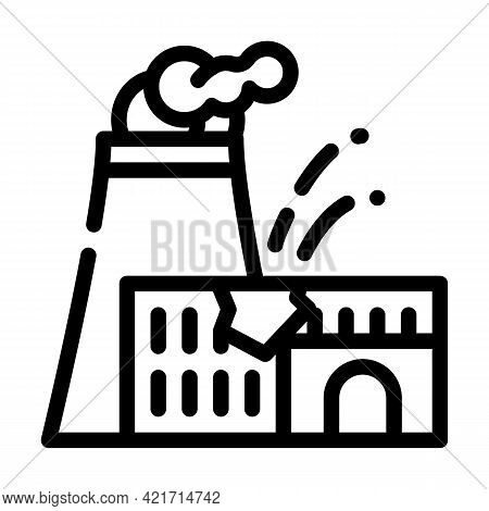 Explosion At Nuclear Power Plant Disaster Line Icon Vector. Explosion At Nuclear Power Plant Disaste