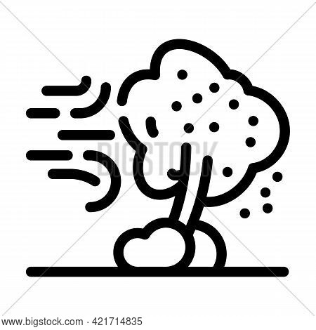 Wind Disaster Line Icon Vector. Wind Disaster Sign. Isolated Contour Symbol Black Illustration