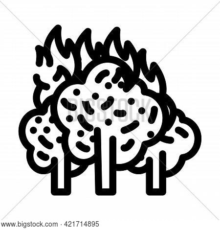 Forest Fire Disaster Line Icon Vector. Forest Fire Disaster Sign. Isolated Contour Symbol Black Illu