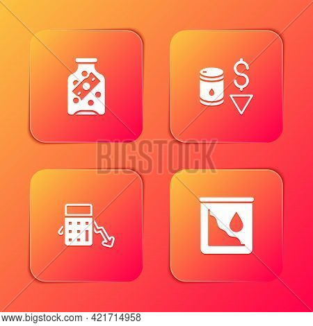 Set Glass Money Jar With Coin, Drop Crude Oil Price, Calculation Of Expenses And Icon. Vector