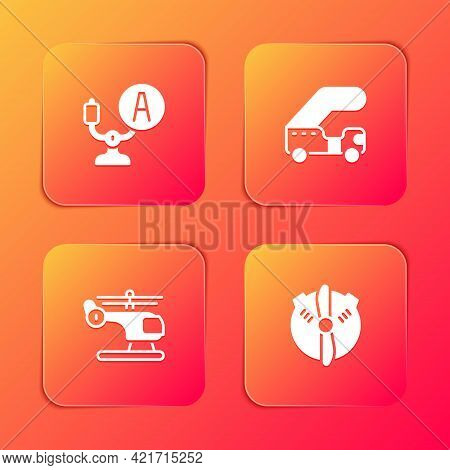Set Aircraft Steering Helm, Passenger Ladder, Helicopter And Plane Propeller Icon. Vector