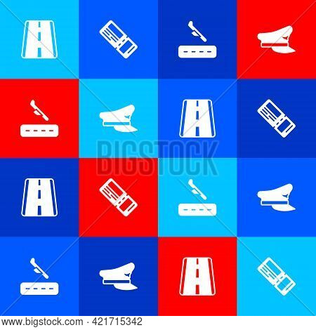 Set Airport Runway, Airline Ticket, Plane Landing And Pilot Hat Icon. Vector