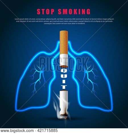 Stop Smoking Campaign Illustration No Cigarette For Health Two Cigarettes And Lung Outline In Dark B