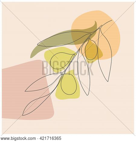 Olive Branch In Leaves And Olives In A Continuous Line. Abstract Style, Flat Design.