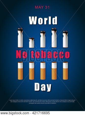 Stop Smoking Campaign Illustration No Cigarette For Health Cutted Cigarettes And World No Tabacco Da
