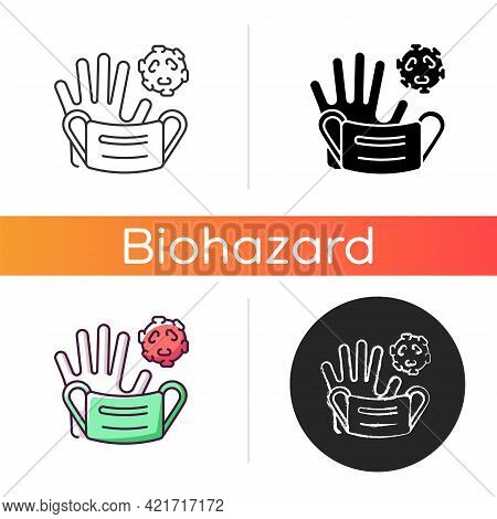 Medical Waste Icon. Biomedical Trash That Contains Infectious Materials. Biological Risk Of Spreadin