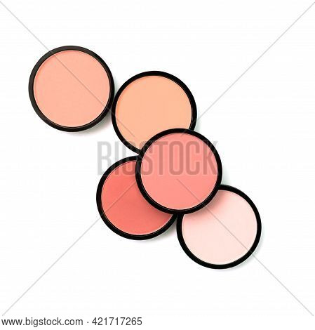 Pink Blush, Compact Powders And Eyeshadows On White Background. Isolated. Makeup. Cosmetic Products.