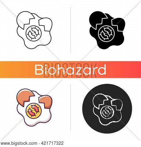 Foodborne Disease Icon. Spoilage Of Contaminated Foods. Infectious Virus Sources. Pathogenic Bacteri