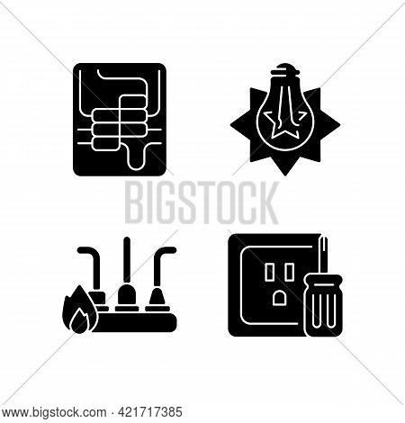 Electrician Service Black Glyph Icons Set On White Space. Circuit Breaker Panel. Exploding Light Bul