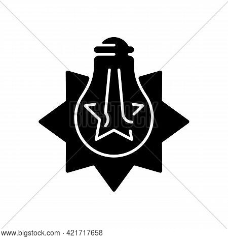 Exploding Light Bulb Black Glyph Icon. Pressure Imbalance. Overheated Bulb. Glass Shards. Excessive