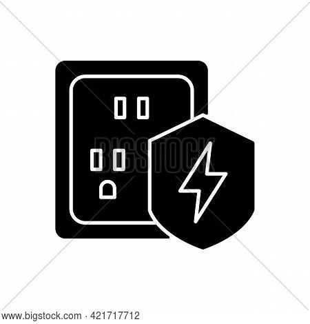 Surge Protection Black Glyph Icon. Electrical Installation Protection. Voltage Spikes Risk Preventio