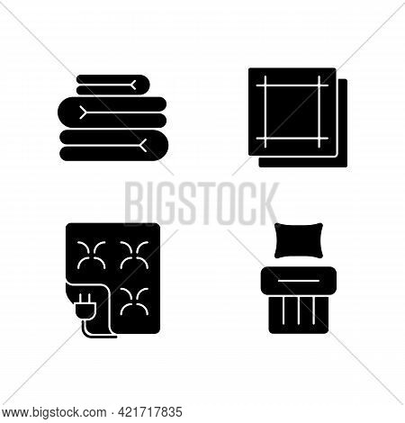 Household Textile Black Glyph Icons Set On White Space. Folded Sheets. Electric Blanket. Kitchen Nap