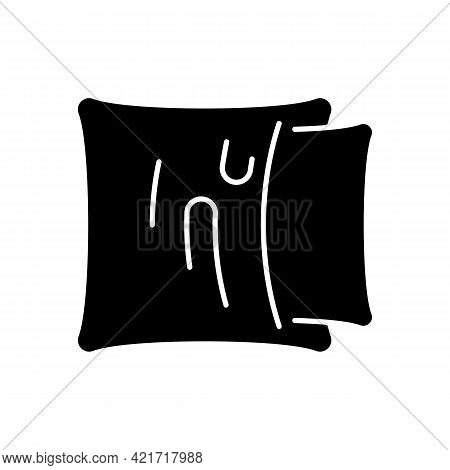 Pillowcase Black Glyph Icon. Comfortable Cushion For Bed. Soft Pillow Cases. Textile Products, House