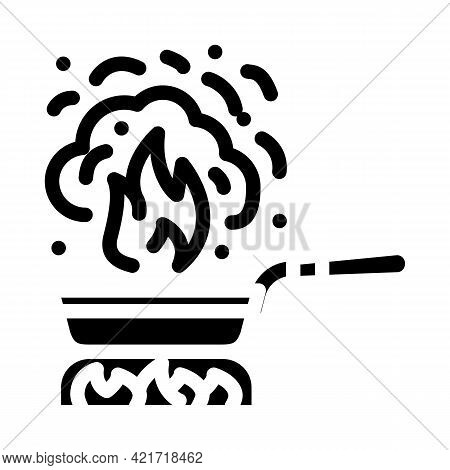 Burnt Food Glyph Icon Vector. Burnt Food Sign. Isolated Contour Symbol Black Illustration