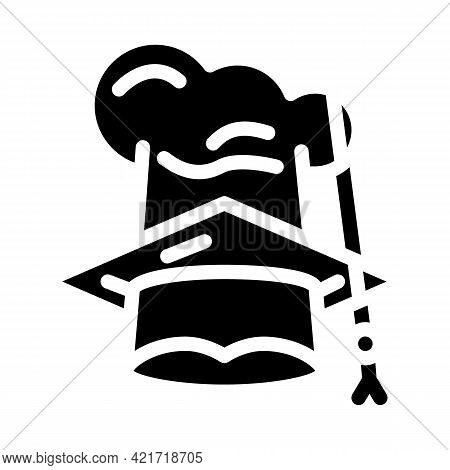 Chef And Graduate Cooking Courses Hat Glyph Icon Vector. Chef And Graduate Cooking Courses Hat Sign.