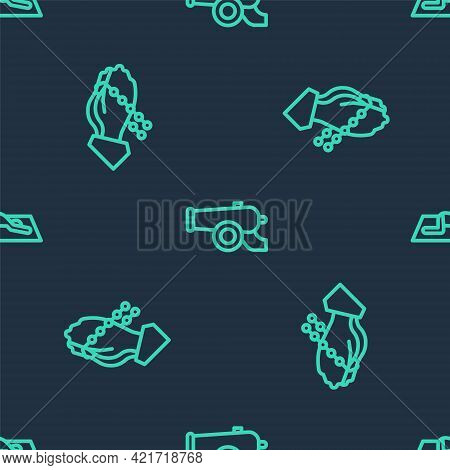 Set Line Ramadan Cannon, Hands In Praying Position And Muslim Man Prays On Seamless Pattern. Vector