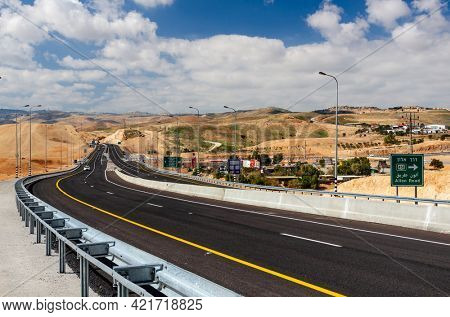 Jerusalem, Israel highways around the desert of the Judaean Hills.