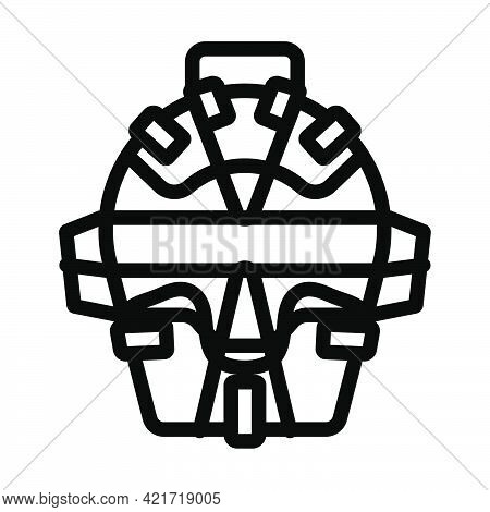 Baseball Face Protector Icon. Editable Bold Outline Design. Vector Illustration.