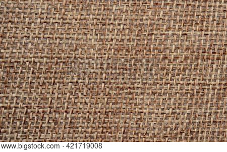 Natural Sackcloth Textured For Background Macro View In High Resolution, Top View Burlap Sackcloth.