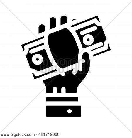 Giving Bribe Glyph Icon Vector. Giving Bribe Sign. Isolated Contour Symbol Black Illustration