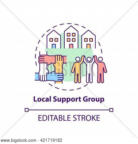 Local Support Group Concept Icon. Rehabilitation Types. Support Person In Disease Treatment. Health