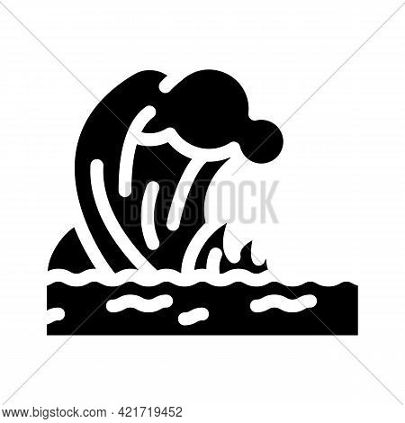 Tsunami Disaster Glyph Icon Vector. Tsunami Disaster Sign. Isolated Contour Symbol Black Illustratio