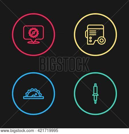 Set Line Electric Circular Saw, Soldering Iron, Power Electric Generator And Circular Blade Icon. Ve