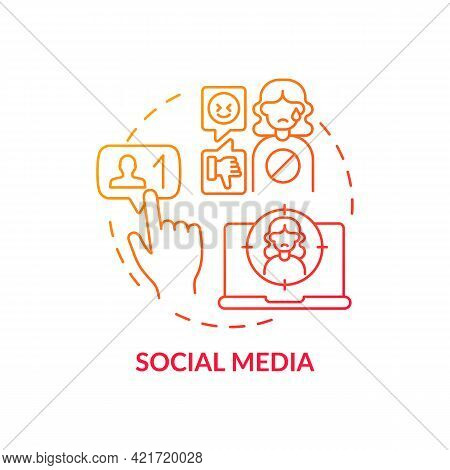 Social Media Concept Icon. Cyberbullying Channel Idea Thin Line Illustration. Stealing Victim Accoun