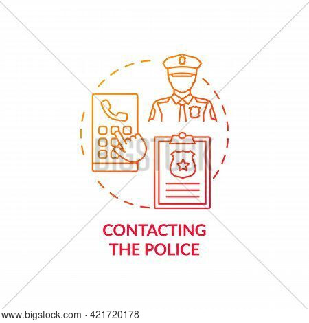 Contacting Police Concept Icon. Report Cyberbullying Idea Thin Line Illustration. Contacting Sm Safe