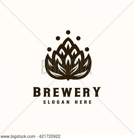 Vintage Brewery Brown Color Logo Template. Vector Illustration
