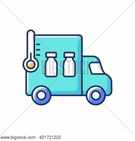 Vaccine Transportation Rgb Color Icon. Drug Distribution. Pharmaceutical Remedy Shipment Van. Truck