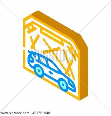Garage Box For Car Polishing Isometric Icon Vector. Garage Box For Car Polishing Sign. Isolated Symb