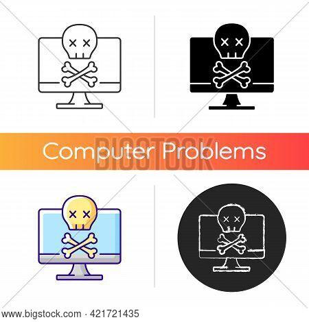 Computer Not Starting Icon. Fatal System Error. Pc Crash, Software Failure. Broken Technology. Lapto