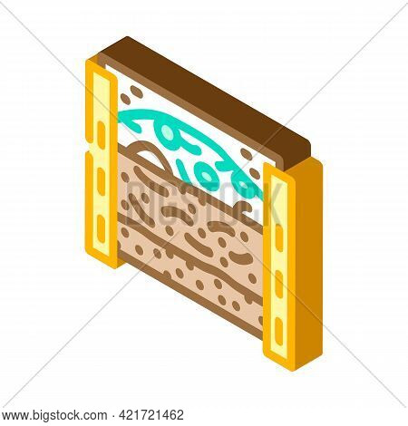 Layers Of Material In Composter Isometric Icon Vector. Layers Of Material In Composter Sign. Isolate