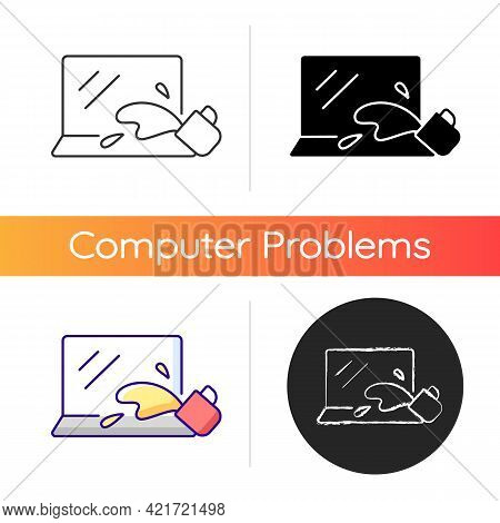 Water Damage Icon. Drink Spilled On Keyboard. Office Accident With Electronics. Liquid On Notebook.