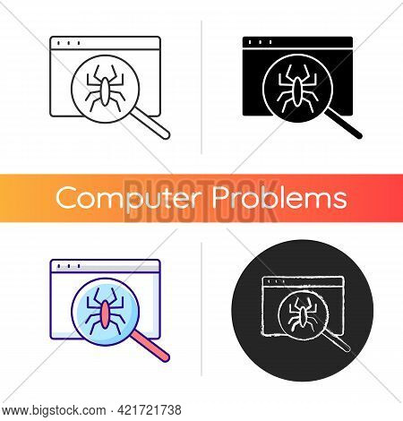 Computer Viruses Icon. Search For Bugs With Antivirus. Diagnostics Of Website. Pc Issue. Scan Online