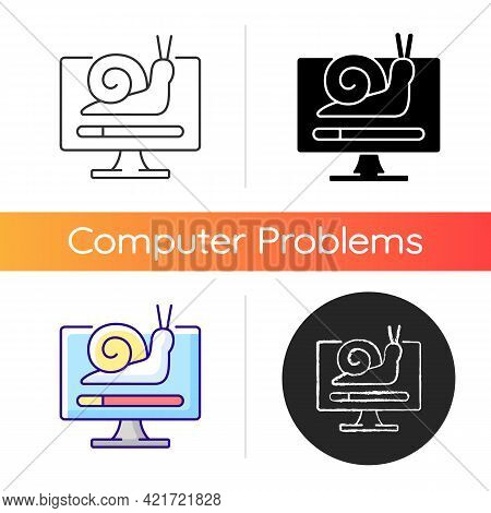 Slow Computer Icon. Waiting For Loading. Connecting To Network, Issue With Internet Traffic. Slow Do