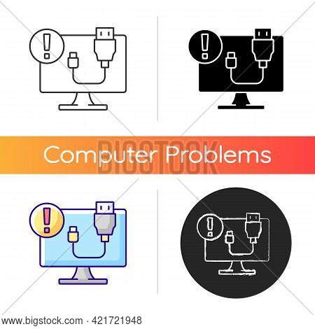Usb Does Not Work Icon. Cable Connection Issue. Desktop Computer Problem. Plug In Failure. Tech Supp