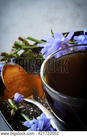 Chicory In A Cup. Chicory Flowers. Healthy Energy Drink.