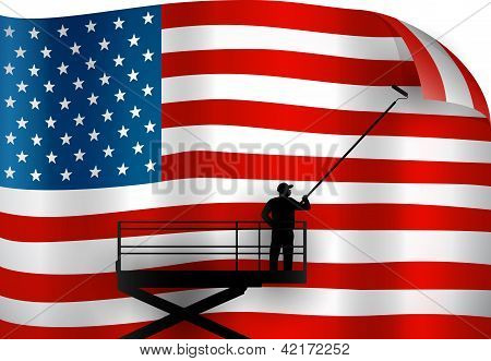 Putting up an American Flag