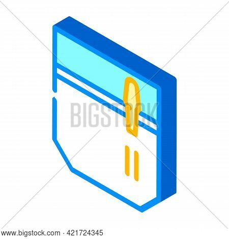 Pencil And Pen Carrying Pocket Isometric Icon Vector. Pencil And Pen Carrying Pocket Sign. Isolated
