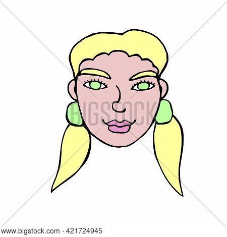 The Face Of A Girl With Two Ponytails. Vector Contour Illustration In The Style Of Doodle Drawn By H
